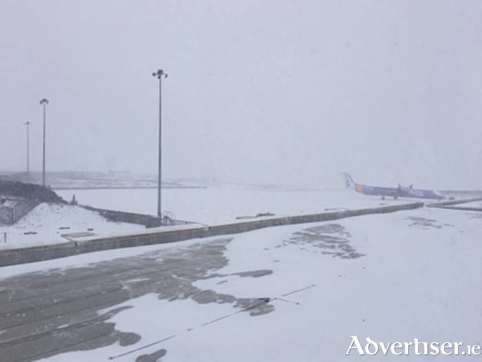 The scene at Ireland West Airport yesterday.