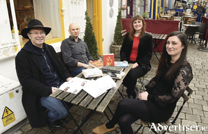 Award-winning authors Mike McCormack and Alan McMonagle, with Emily Cullen, Cúirt programe director, and Tara O'Connor, Cúirt festival manager. Photo:- Boyd Challenger