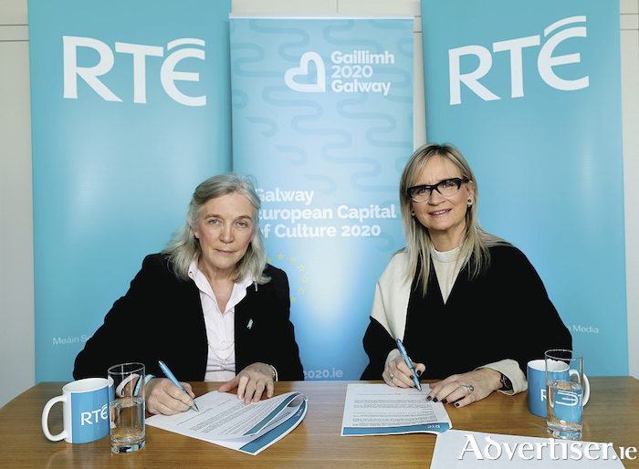 Hannah Kiely, Chief Executive of Galway 2020 European Capital of Culture and Dee Forbes, Director-General of RTÉ yesterday signed an agreement that will see the national public service media organisation act as the lead media partner for Galway 2020, in a special association that will promote Galway's historic year as the European Capital of Culture.