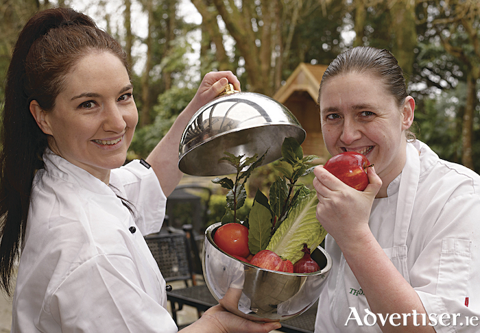 Ciara Ryan, pastry chef, McCambridge's of Galway, and Steffi Cooke, chef de partie, The Ardilaun hotel, ahead of the launch of the Galway Food Festival at The Ardilaun Kitchen Garden this week. Photo: Andrew Downes, XPOSURE.