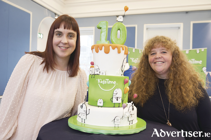 Co-founders Jill Holtz and Michelle Davitt celebrating the tenth birthday of MyKidsTime.com at the party in Collins Barracks.