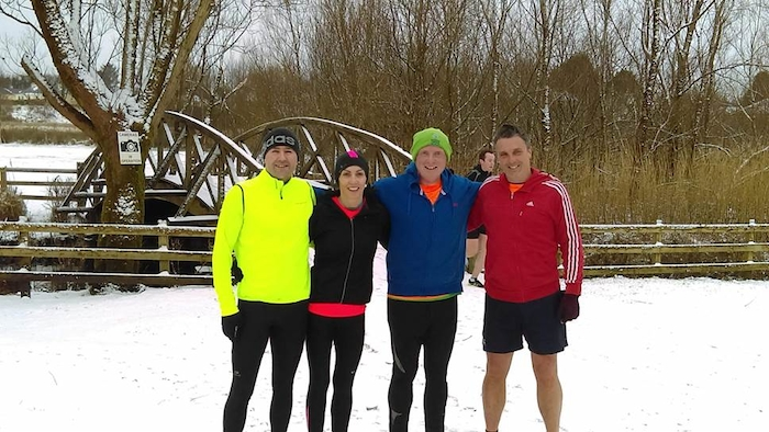 Snow fun: Tony O'Malley, Kathy Gleason, Brendan Murphy, and Pat Ludden braved the elements at the Claremorris Park Run last Saturday.