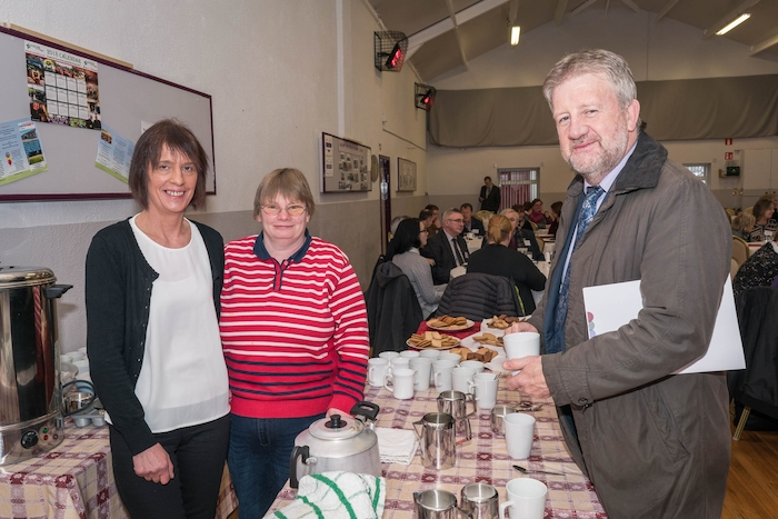 Maura Gallagher and Maeve Henry, Kilmovee Community Centre and Gerry O'Neill, (CEO, South West Mayo Development Company) at a Pobal regional seminar in Kilmovee Community Centre, Kilmovee. Photo: Keith Heneghan
