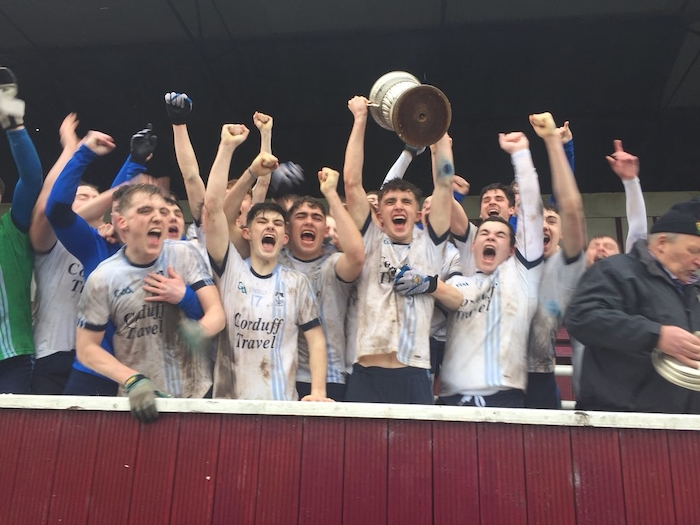 Champions time: Rice College celebrate claiming the Connacht Colleges Post Primary A Schools Final. Photo: Connacht GAA