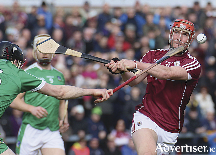 Limerick's Declan Hannon blocks Conor Whelan's attempt to score for Galway in action from the Allianz National Hurling League game at Pearse Stadium on Sunday. Photo:-Mike Shaughnessy