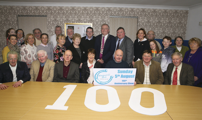 Pictured in IRD Claremorris at the launch of the 100th Claremorris Agricultural Show were members and officers of the organising committee with Cllr Tom Connelly and Cathaoirleach of Mayo County Council, Cllr Richard Finn. Photo: Michael Donnelly.