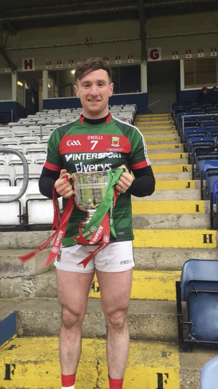 Champions: Cathal Freeman with the league cup after Mayo's victory. Photo: Mayo GAA