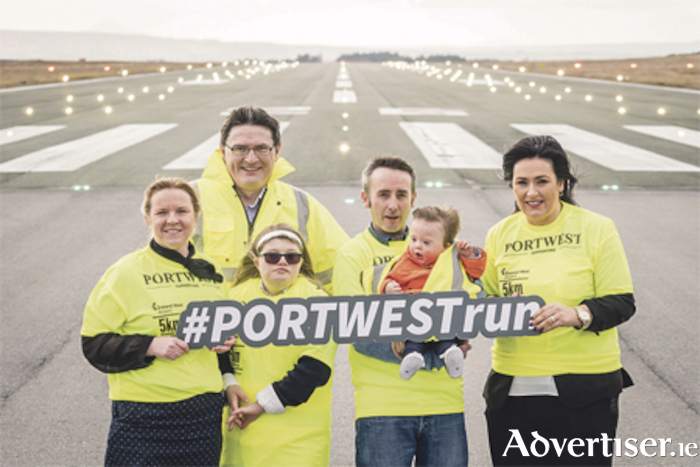 Pictured at the launch of the 5K runway fun run sponsored by Portwest at Ireland West Airport  were: Sarah Joyce, CMRF Crumlin; Joe Gilmore, Ireland West Airport; Ellen Black, Kiltimagh; Adrian Doherty, Down Syndrome Ireland with his son Louis, aged 18 Month; and Martina Jennings, Mayo Roscommon Hospice. Photo: Keith Heneghan