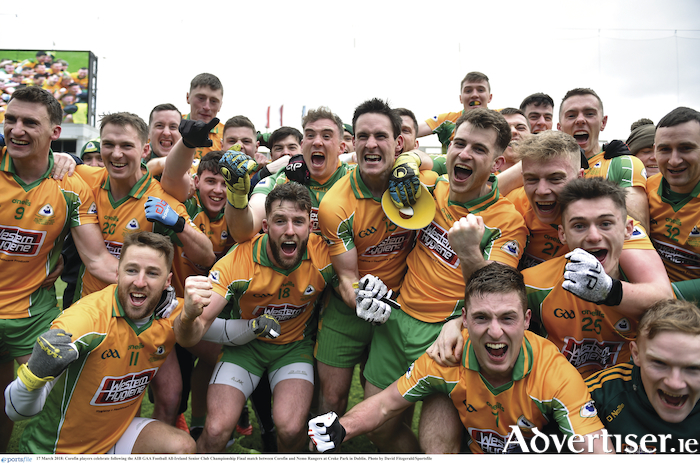 Corofin players celebrate victory over Nemo Rangers in the AIB Gaelic Football All-Ireland Senior Club Championship final at Croke Park on St Patrick's Day.  Photo by David Fitzgerald/Sportsfile