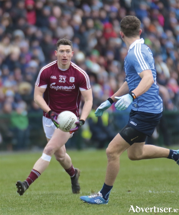 Johnny Heaney's last kick of the game earned Galway a draw against Dublin in action from the Allianz National Football League division 1 round six clash at Pearse Stadium on Sunday. Photo:-Mike Shaughnessy