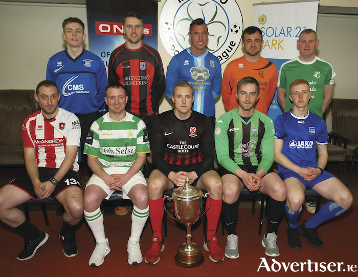 Ready for the off: At the launch of the new Mayo League season were back row: Simon Jordan (Kiltimagh/Knock United), Tom McAndrew (Iorras Aontaithe), Chris Maughan (Manulla), Daniel Gorman (Straide  and Foxford Utd) and David Grant (Claremorris AFC); Front row: Peter Quinn (Ballyglass), Ioseph O'Reilly (Castlebar Celtic), Gary Cunningham (Westport United), Frank Walsh (Ballyheane) and Mark Birrane (Ballina Town). Photo: Michael Donnelly