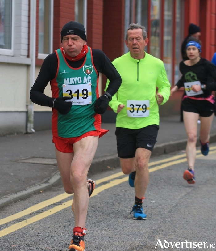 David Dinsmore (Mayo AC) M60 winner at the Tubbercurry St Patrick's Day 10k