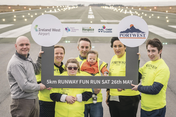 Photographed at the launch of the 5K Runway Fun Run at Ireland West Airport  were from left to right; Donal Healy (Ireland West Airport), Sarah Joyce (CMRF Crumlin) Ellen Black,  Adrian Doherty (Down Syndrome Ireland) with his son Louis, aged 18 months, Martina Jennings (Mayo Roscommon Hospice) and Henry Hughes (Portwest). Photo: Keith Heneghan