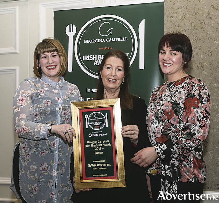 Siobhan Flaherty and Devon Butterfield of Gather Restaurant, Tuam, pictured with Georgina Campbell receiving their award for Highly Commended in the Brunch category at the Irish Breakfast Awards on March 22.