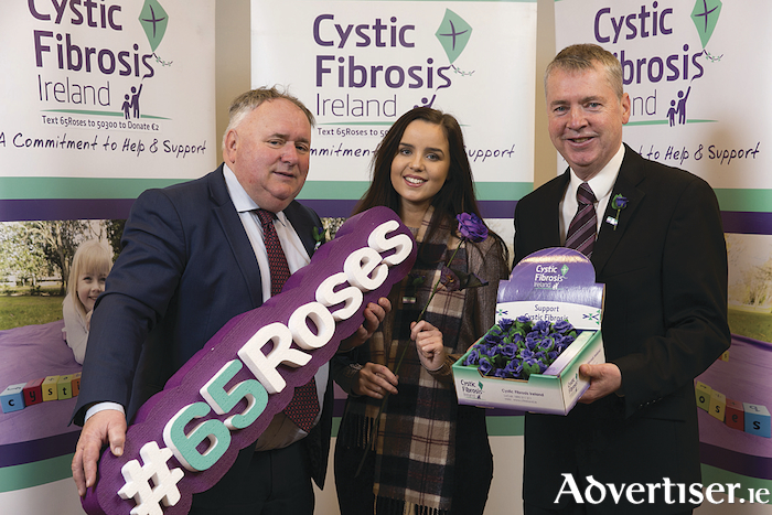 Deputy Eugene Murphy, TD, Bevin Murphy and Fergal Smyth of Cystic Fibrosis Ireland pictured at the launch of Cystic Fibrosis Ireland's 65 Roses Day fundraising appeal taking place nationwide on Friday April 13.
