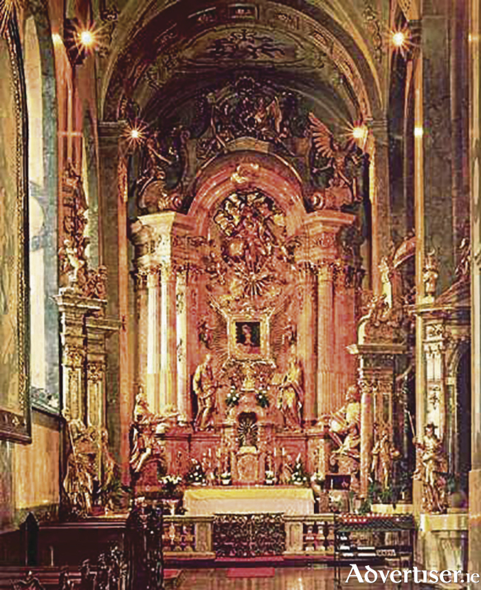 The spectacular setting in the chapel of St Anne, in the cathedral of Gyor, for the Irish Madonna.