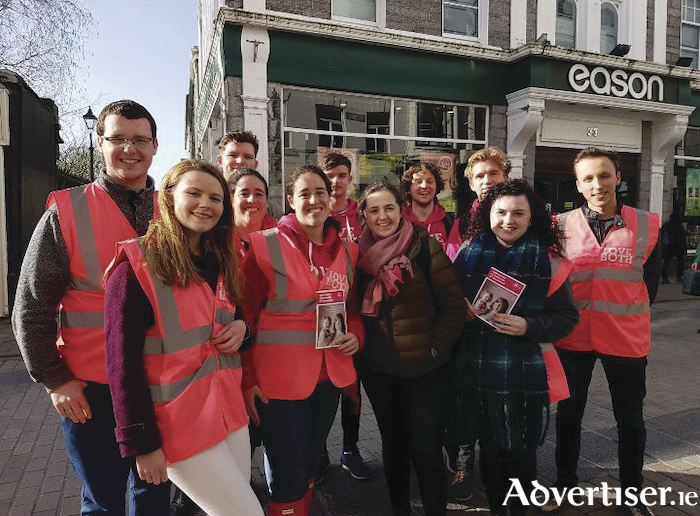 Galway For Life volunteers on Shop Street this week urging the public to vote No on May 25.
