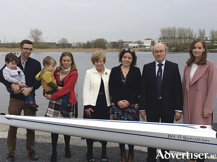 The family of Paul Giblin: Dara and Gearoid Hynes, Cian and Gearóidín Hynes, Helen Giblin, Annie Ní Gioballáin, John Giblin and Cate Crowe at the blessing of Cumann Rámhaíochta Choláiste na Coiribe's new boat 'Pól Ó Gioballáin' sponsored by Compass Informatics.