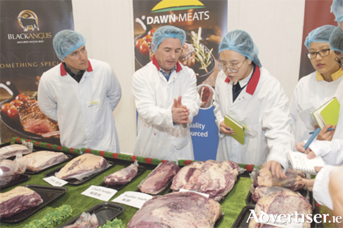 Kieran Fitzgerald of Bord Bia and Derek Daly of Dawn Meats pictured at Dawn Meats, Charleville, during the visit part of Bord Bia's Marketplace 2018, a week-long business development event aimed at building new trade relationships with retailers, food service and ingredient buyers and distributors from across the globe. Photo: Daragh Mc Sweeney/Provision