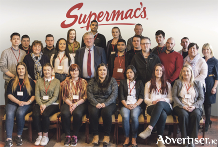 Supermac's managing director Pat McDonagh and HR manager Anita Murphy were joined by a group of assistant managers for the launch of the Emerging Talent Programme