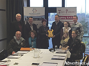 Back row: Fred Carney, Cllr John Naughton, Geraldine Parker of the Tony Parker foundation, Tim Dolan, chairman of the Monksland town team, Shona Parker, Tony Parker Foundation, and Joe Harney. Front row: Tom Harrison, Patricia Greene, Caroline Reid and Kelly Marie Neary