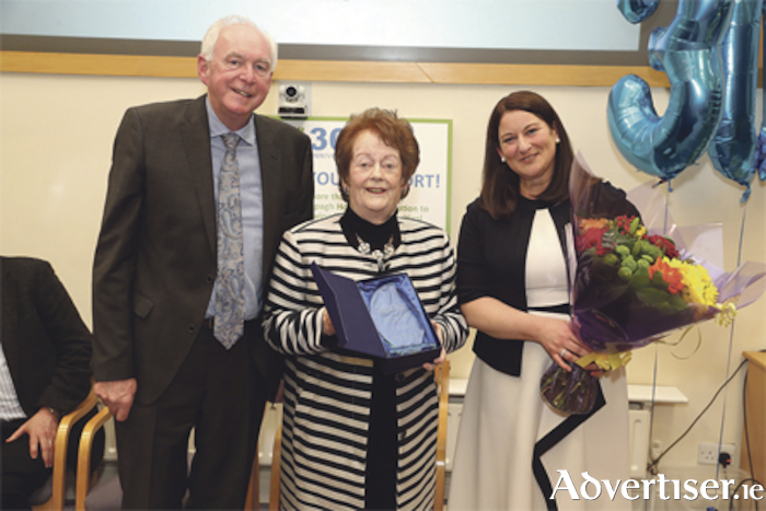 Mary O'Rourke receiving an award for her work as patron of the Cappagh Hospital Foundation from Shay Keany, board member, and Orla Gilroy, CEO