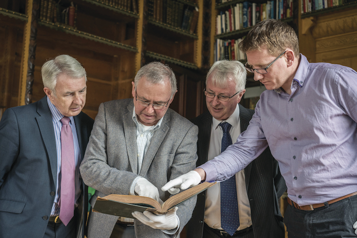 Tony Candon, manager/keeper, National Museum of Ireland - Country Life, second left  with Tom and Fintan Murphy who donated a number of books to the museum and Noel Campbell, assistant keeper. Photo: Keith Heneghan.