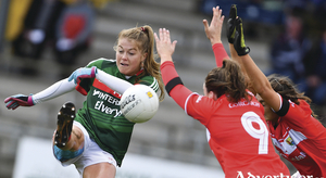 Shooting star: Sarah Rowe kicked nine points for Mayo in an epic league semi-final against Cork. Photo: Sportsfile