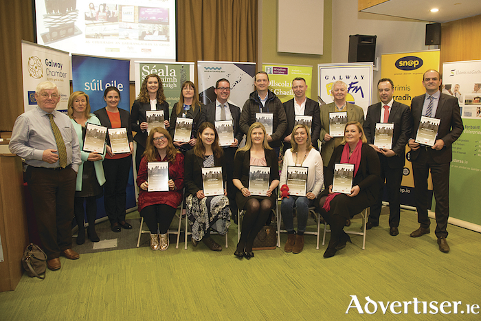 Back Row: Tom Kenny, Kenny's Bookshop and Art Galleries Ltd., Caroline Gannon, iSupply, Rosemary Crowley, Swaine Solicitors, Maureen Duggan, KD Autoparts, Darragh O'Connor, Harbour Hotel, Colm Kennelly, Colm's Life Pharmacy, Micheál Ó Scanláin, Sweeney Oil, Seosamh Ó hAllmhurain, Big O Taxis, Conor Dalton, Corrib Shopping Centre, Cormac McGuckin, Galway City Business Association