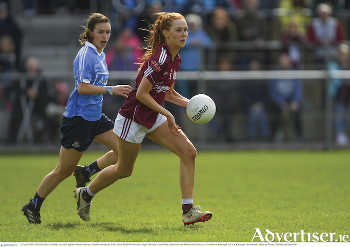 Galway's Olivia Divillyon the ball against Sinead Aherne of Dublin during the Lidl Ladies Football National League division one semi-final match at Coralstown, Kinnegad GAA, in Kinnegad, Westmeath.