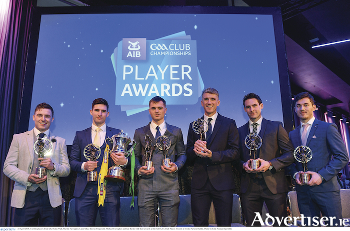 Corofin players Dylan Wall, Martin Farragher, Liam Silke, Kieran Fitzgerald, Michael Farragher and Ian Burke with their awards at the AIB GAA Club Player Awards at Croke Park in Dublin.