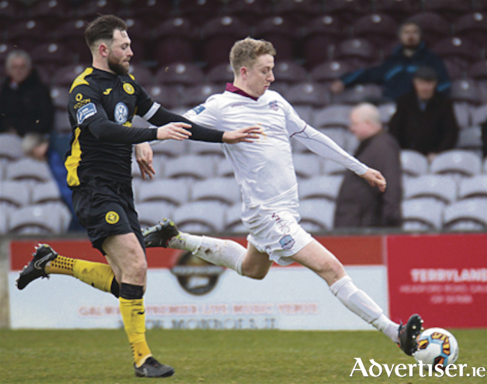 Galway United's in Eoin McComack and Sligo Rover's Kyle Callan - McFadden in  action from the EA Sports Cup Second Round game at Eamonn Deacy Park on Monday. Photo:-Mike Shaughnessy
