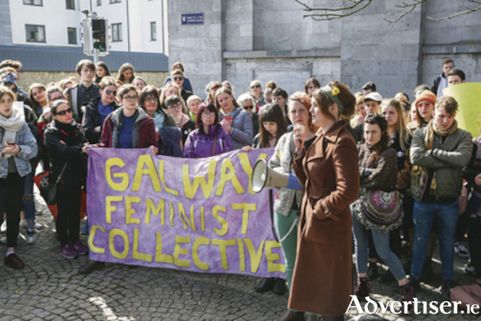 Galway feminists attend a rally in support of the woman at the centre of the Belfast Rape Trial.