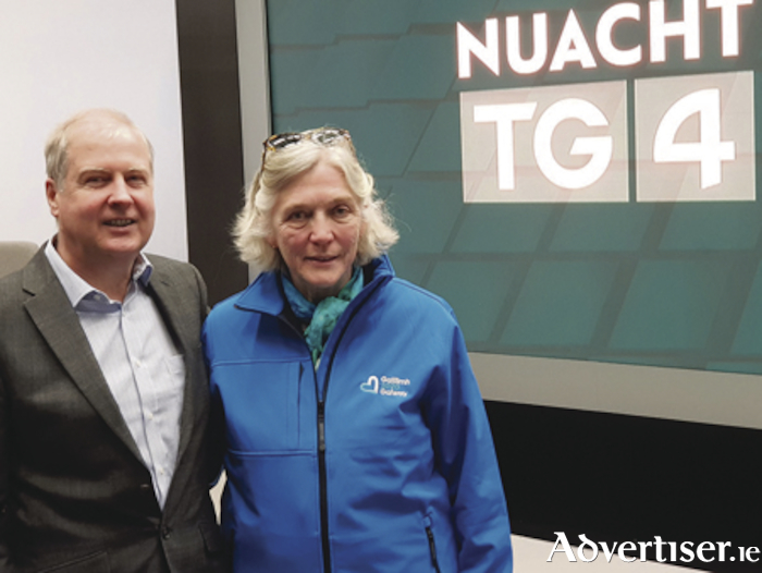 Alan Esslemont, director of services of TG4, and Hannah Kiely, chief executive of  Galway 2020, at the announcement of their new partnership .