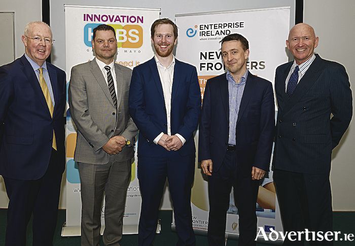L to R: Barry Egan, Enterprise Ireland Director West, Mark Corrigan, Marine Cable Services (runner-up), Barry Flannery, Xerotech (winner), Iain Morrow, OpenBox Models (One-to-Watch), Tony O'Kelly , GMIT New Frontiers Manager