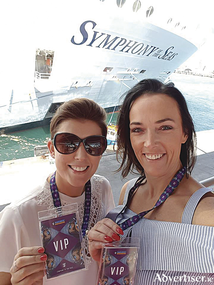 Fiona Flaherty and Caroline O'Toole of Fahy Travel at the launch of Royal Caribbean's newest ship in Barcelona.