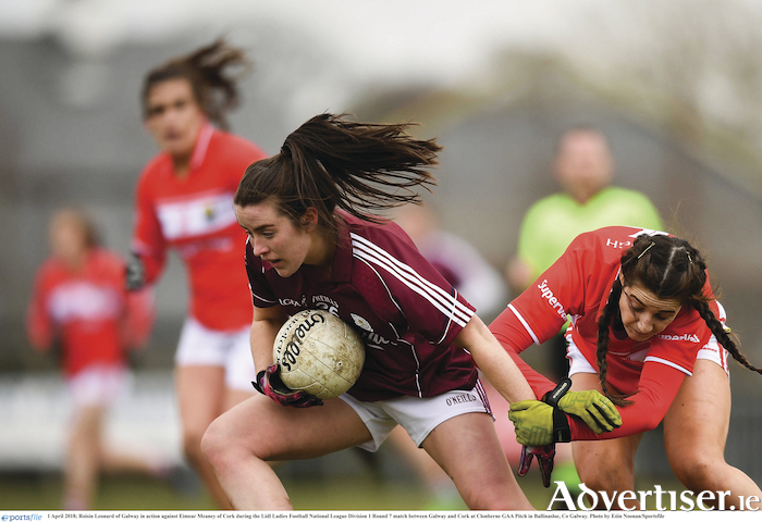 Roisin Leonard of Galway, in action against Eimear Meaney of Cork, earlier in the league campaign, is getting back to her best from injury.