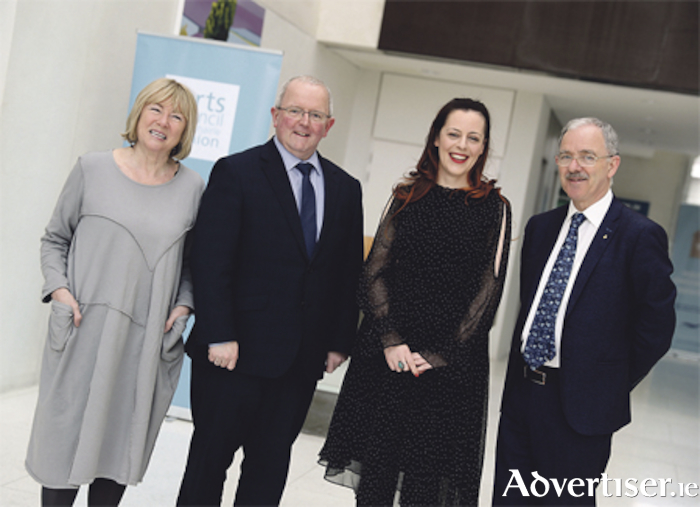 Sheila Pratschke, chair of the Arts Council, Pat Gallagher, chief executive of Westmeath County Council, Annemarie Ní Churreain, and Gearoid O'Brien, historian and author. 