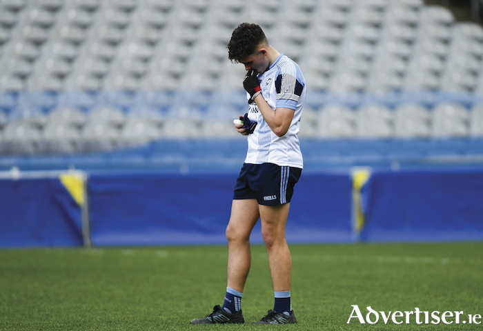 So near, yet so far: Rice College's Fintan McManamon after the full time whistle in Croke Park last Saturday. Photo: Sportsfile.