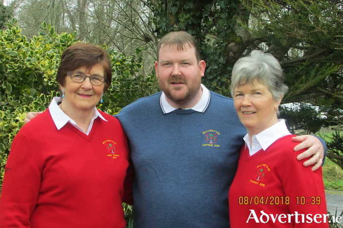 Lady captain Julie Loftus, captain Paul Murtagh, and Balla president Carmel Henry prior to the Captains' Drive in last Sunday in Balla Golf Club.