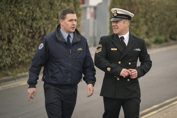 Garda Diver Enda Broderick and Naval Diver Courtney Gibbons arriving at Belmullet Courthouse, Co. Mayo for the inquests into the deaths of the crew members of Coast Guard Rescue Helicopter 116. Photo : Keith Heneghan