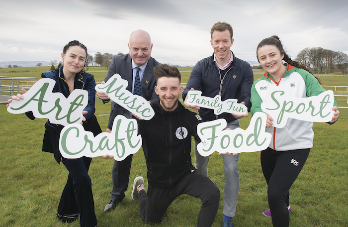 Pictured at the launch of Made of Mayo, the flagship event for Mayo Day  in Ballinrobe Racecourse, were Breda Mayock (artist/musician), Peter Hynes (chief executive Mayo County Council), Derek Doohan (The Movement Gym), Donal Vaughan (Mayo GAA), and Michaela Walsh (athlete). Photo: Michael McLaughlin.