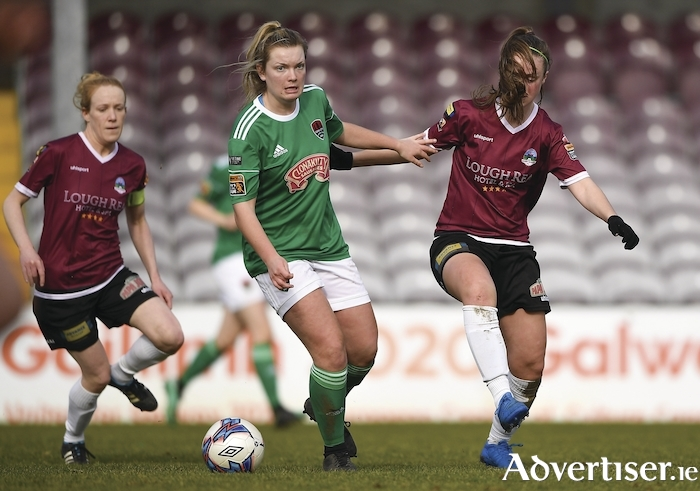 Saoirse Noonan of Cork City in action against Tessa Mullins of Galway WFC during the Continental Tyres Women's National League match between Galway WFC and Cork City FC at Eamonn Deacy Park in Galway. Photo by Harry Murphy/Sportsfile