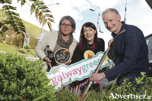 Kathleen McMahon of Blackriver Wild Foods in Headford, Arlene Finn, Galway Green Leaf co-ordinator, and Mark Ridsdill-Smith of Vertical Veg (UK) at the Growing in Small Spaces, Finding in Wild Spaces seminar which took place in the city last week. Photo: Aengus McMahon.