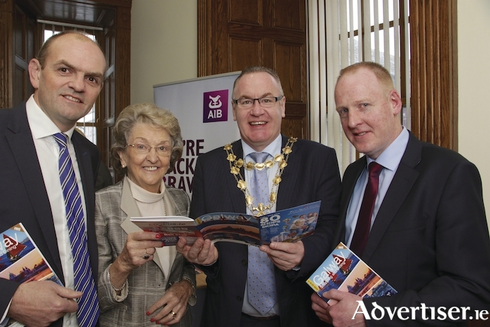 AIB Lynch's Castle hosted the launch of the Galway City Business Association's Shopping and Dining Guide to Galway on Tuesday, Pictured at the event were Cormac McGuckian chairman of the GCBA, Mary Bennett editor of the Galway Shopping and Dining Guide, Mayor of Galway Pearce Flannery, and Seamus Fennessy Manager AIB Lynch Castle. Photo:-Mike Shaughnessy