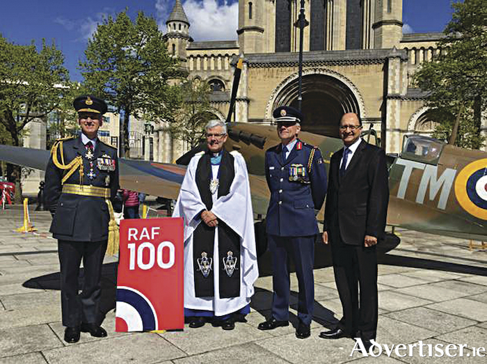 Air Chief marshal Sir Stephen Hiller, Very Rev Stephen Forde, Irish Air Corps brigadier General Sean Clancy, and Northern Ireland Under Secretary of State Shailesh Vara outside St Anne's Cathedral, Belfast, last Sunday, marking the RAF's centenary.