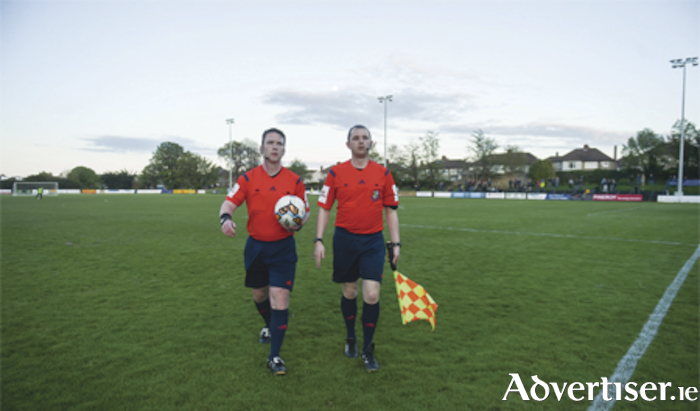 Referee Eoin O'Shea and assistant referee Alan Dunne 