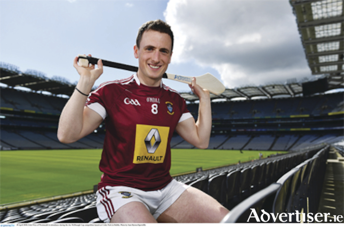 Eoin Price of Westmeath at the Joe McDonagh Cup competition launch at Croke Park in Dublin. These competitions, involving 25 hurling squads from around the country, will all begin in the second week of May and conclude in late June. Photo: Sam Barnes/Sportsfile