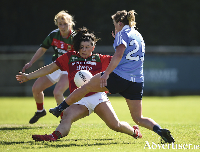 Saving stance: Mayo's Rachel Kearns stops a Dublin attempt for a goal. Photo: Sportsfile
