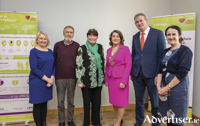 Pictured at the launch of the 'Acting on Heart Failure Global Awareness Campaign' in the Croi Heart & Stroke Centre Galway are Mary Heffernan, Croi Board of Directors; Liam Martyn and Annette Irving, Living with Heart failure; Cllr Eileen Mannion, Mayor County Galway, Minister Sean Kyne TD and Patricia Orme, Croi Board of Directors.